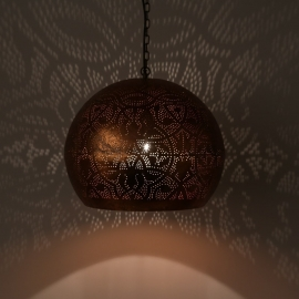 Hanglamp rood koper filigrain