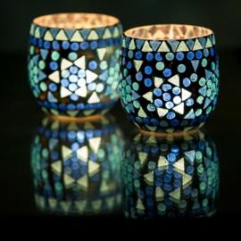 Mozaiek waxinehouder bol Blauw