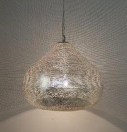 Oosterse hanglamp zilver Gaatjes S t/m XXL