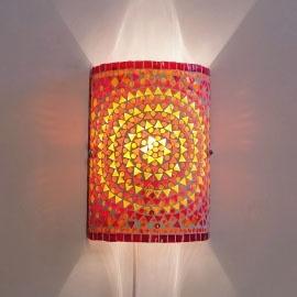 Wandlamp mozaiek cilinder Rood-Oranje