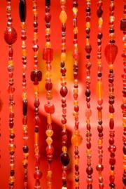 Kralengordijn glas Rood