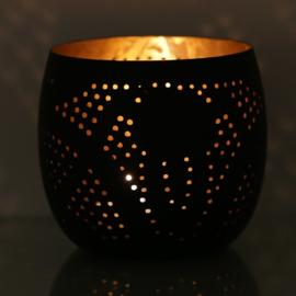 Waxinehouder filigrain zwart-goud
