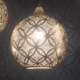 Oosterse filigrainlamp Bloem zilver XXXL
