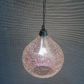 Oosterse lamp Gaatjes zilver M