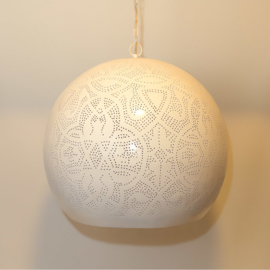 Industriële filigrain lamp wit-goud XL