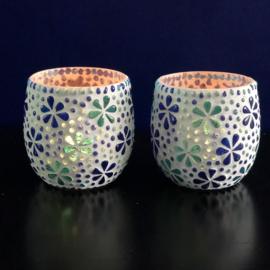 Mozaiek waxinehouder 'Bloem' turqoise-blauw
