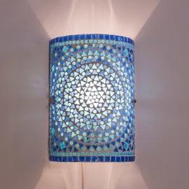 Wandlamp mozaiek cilinder Turqoise-Blauw