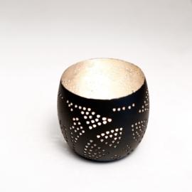 Waxinehouder filigrain zwart-zilver