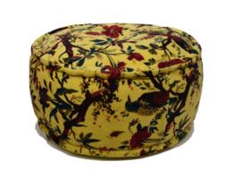 Poef velvet geel Birds