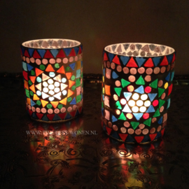 Mozaiek waxinehouder multicolour