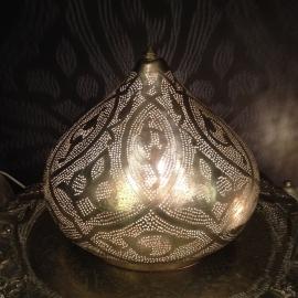 Staande filigrainlamp zilver Patroon M