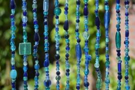 Kralengordijn glas Blauw