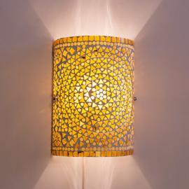 Wandlamp mozaiek cilinder Bruin-Beige