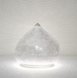 Tafellamp Filigrain zilver Gaatjes S-M-L