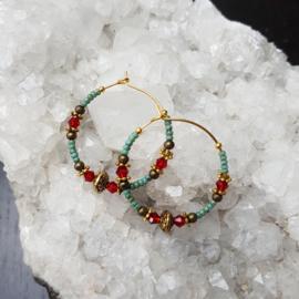 Creolen-goud-turqoise-rood