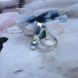 Ring zilver met larimar-maansteen-topaas