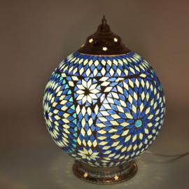 Mozaïeklamp bol Ø 25 Blauw-Turqoise