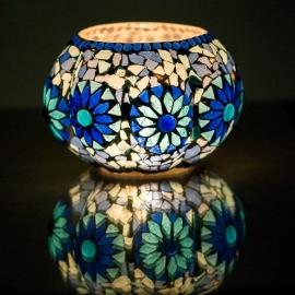 Waxinehouder mozaiek Pompoen blauw