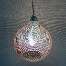 Oosterse gaatjeslamp zilver L