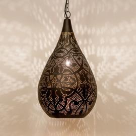 Oosterse hanglamp filigrain zwart/goud
