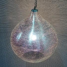 Oosterse lamp zilver Gaatjes XL