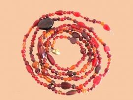 Kralenstreng glas rood/oranje