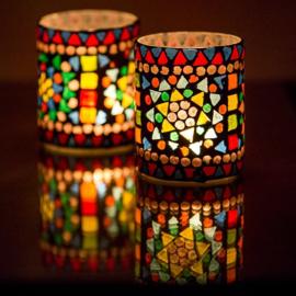 Mozaiek waxinehouder multicolour/black