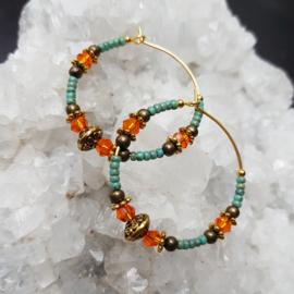 Creolen-goud-turqoise-oranje