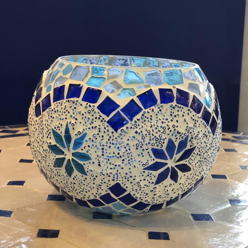 Waxinehouder mozaiek Blauw-Turqoise Large BG Beads
