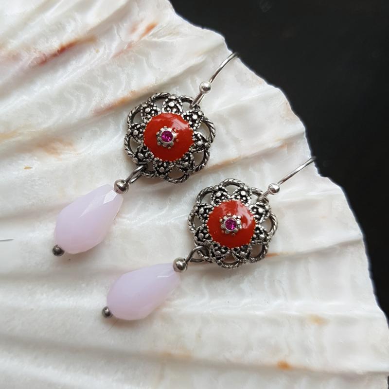 Oorbellen-rood-rose