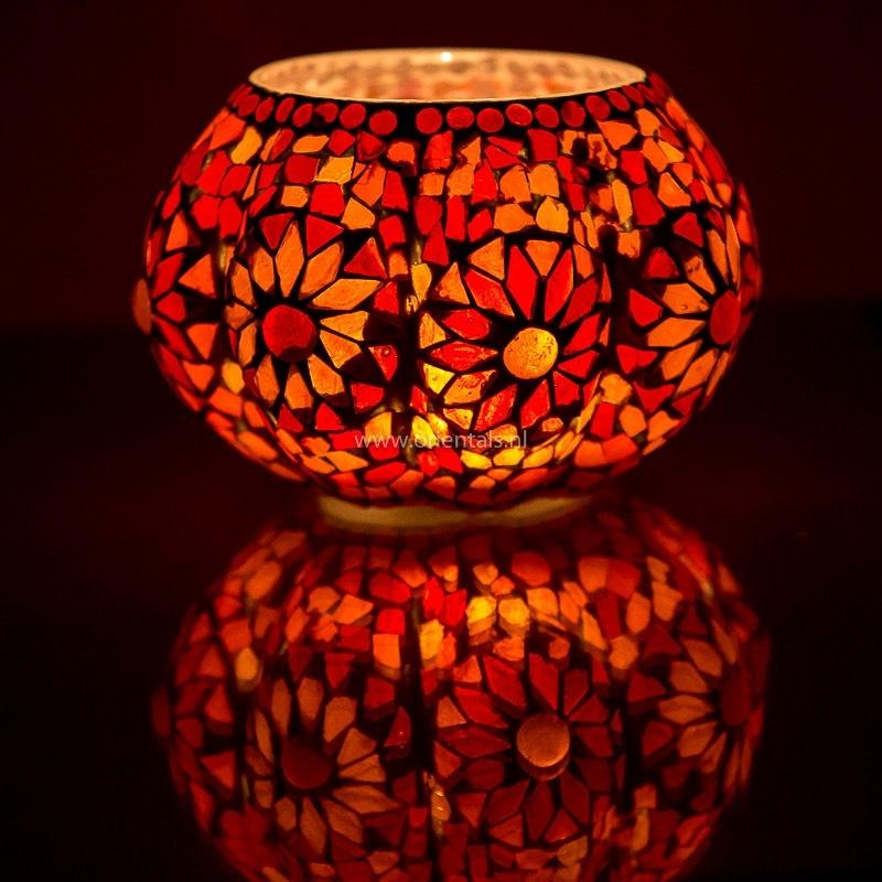 Waxinehouder mozaiek Pompoen Rood-oranje