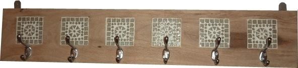 Kapstok hout met wit mozaiek