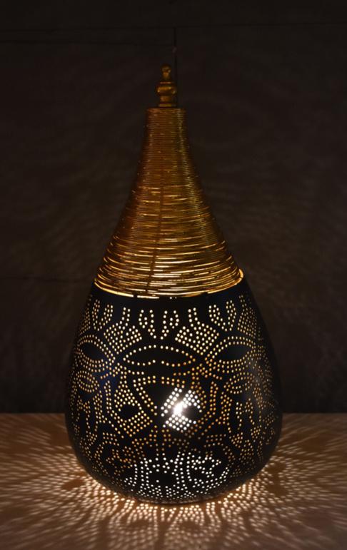 Filigrainlamp Druppel  Zwart-Goud Large