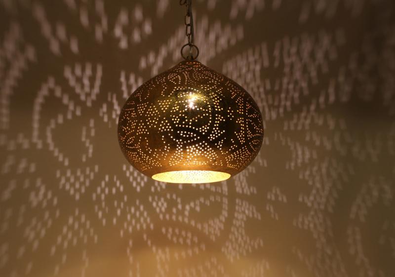 Filigrain hanglamp vintage goud