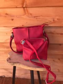 Rode bag  in bag tas met siernaad rood