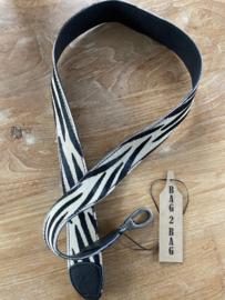LEREN zebraprint strap Bag2Bag zwart