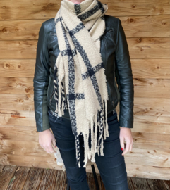 Beige/zwarte shawl