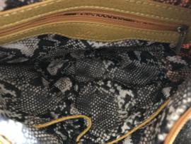 Bag in bag shopper metallic look geel