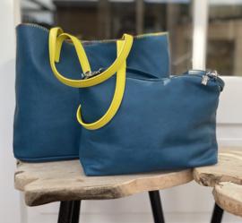 Bag in Bag shopper donkerblauw met geel hengsel