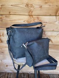 Zwarte krokoprint bag in bag tas