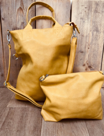 Bag in bag shopper metallic look geel