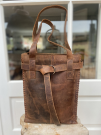 Revival by Leather Design Braided Hunter Bruin (laptoptas)
