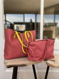 Bag in Bag shopper met geel hengsel