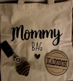 CADEAUBON 20 EURO met tas( Mommybag) en tashanger taupe/zwart