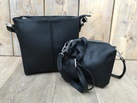 Kleine zwarte bag in bag tas met siernaad