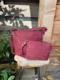 Bordeaux rood krokoprint tas bag in bag Zaza's