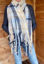 Blauw/beige geblokte shawl