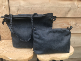 Donkerblauwe bag in bag tas