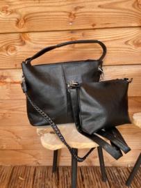 Zwarte bag in bag tas met siernaad