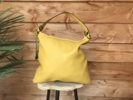 Gele bag in bag shopper met sierhanger
